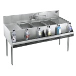 krowne 3-compartment under bar sink with shelve for drinks