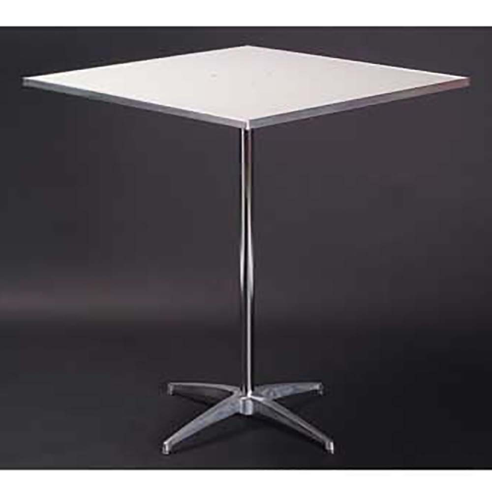 Maywood MFSQPED Pedestal Table Inch Square White Vinyl - White square pedestal table