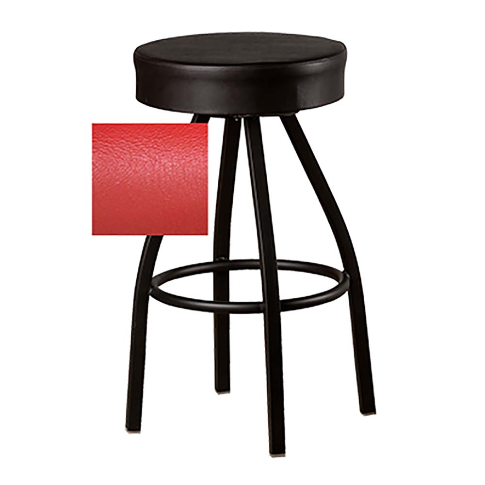 Astonishing Oak Street Sl0137 Red Swivel Bar Stool Counter Height Backless 17 Dia Upholstered Red Vinyl Pabps2019 Chair Design Images Pabps2019Com