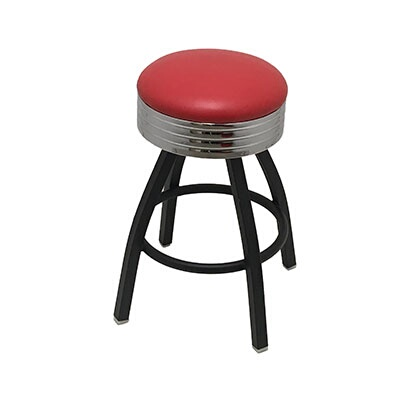 Oak Street Sl1137 Hd Red Swivel Bar Stool Counter Height Backless Upholstered Seat Vinyl