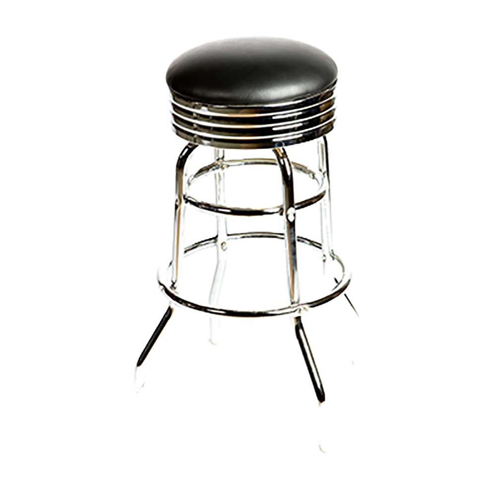 Oak Street Sl2131 Hd Blk Swivel Bar Stool Backless Upholstered Seat Black Vinyl