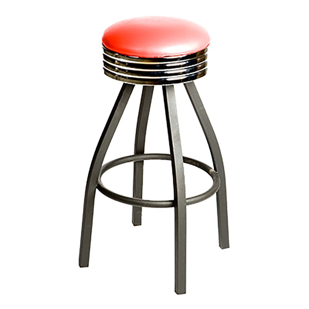 Fantastic Oak Street Sl2137 Red Red Vinyl Bar Stool W Retro Ribbed Chrome Band Inzonedesignstudio Interior Chair Design Inzonedesignstudiocom