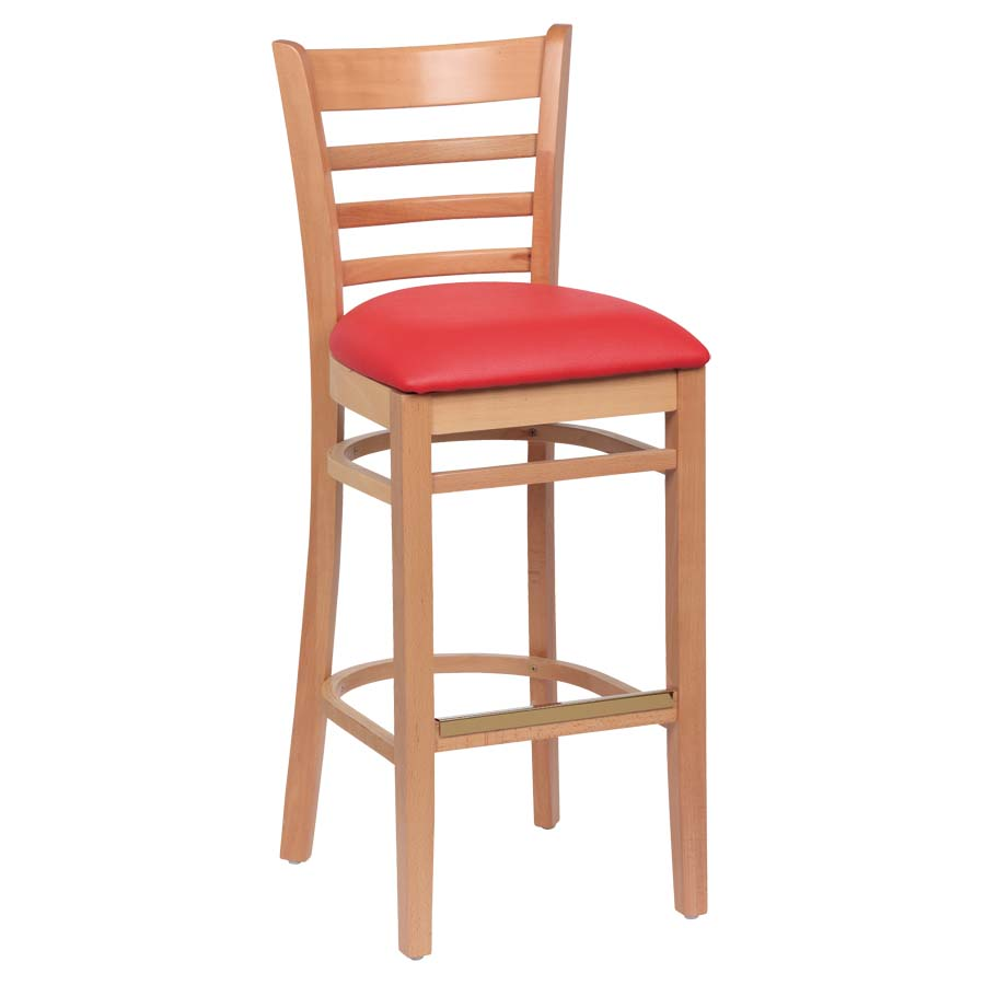 Royal Roy 8002 N Red Ladder Back Bar Stool Red Vinyl