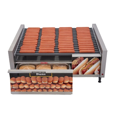 Star 75stbde grill max hot dog grill roller type with - Hot dog roller grill with bun warmer ...
