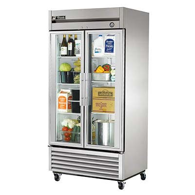 True T 35g Hc Fgd01 Reach In Refrigerator Two Section 2 Glass Doors