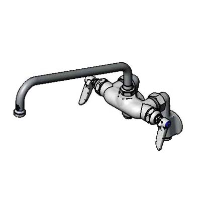 B-0241 T & S Brass - Sink Mixing Faucet, wall mounted, adjustable inle