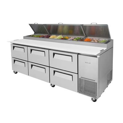 TPRSDD Turbo Air Super Deluxe Pizza Prep Table Threesection - 6 ft stainless steel table