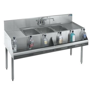 "Dented Krowne 18-53C - 3 Compartment 60"" Underbar Sink With L&R Drainboards"
