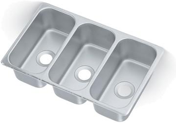 12065-3 - Vending Cart Drop-In Sink w/Triple Bowl, 12-1/8 x 6-1/