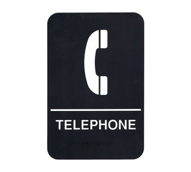 "Update S69B-7BK - Sign, 6"" x 9"", Braille Telephone, white on black"