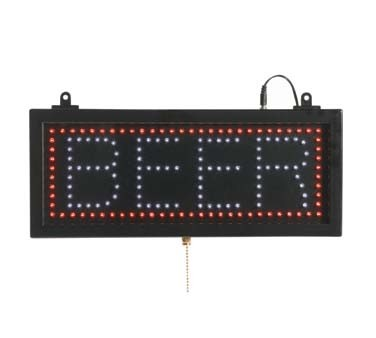 "Aarco BEE06S - LED Sign, 16-1/8""W x 6-3/4""H, ""BEER"", (3) display modes"