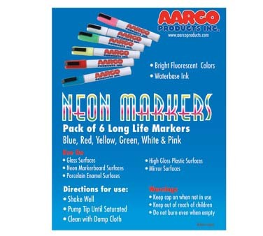 Aarco MFL-6 - Markers, (6) neon colors (blue, red, yellow, green white and pink)