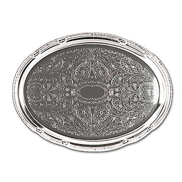 "Adcraft CCT-18 - Cater Tray, oval, no handles, 18"" x 13"", chrome plated, decorati"