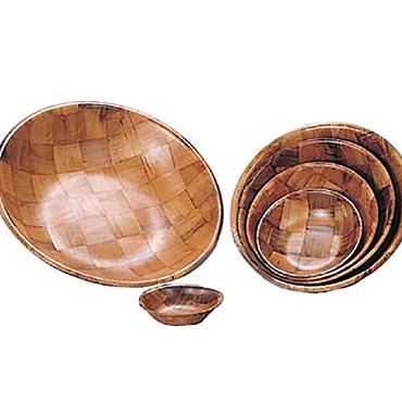 "Adcraft TSB-6 - Salad Bowl, 6"" dia. x 1-1/2"" deep, woven, Keyaki wood, (Case of 12)"