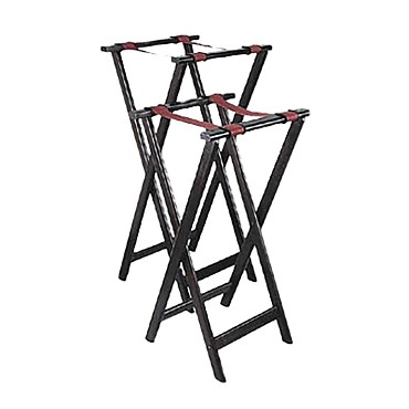 Adcraft WTS-32 - Deluxe Tray Stand, folding, hardwood w/mahogany furniture finish