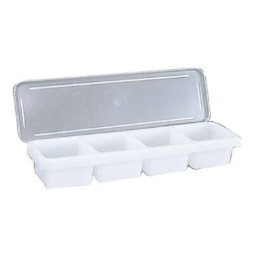 "Adcraft BC-4ST - Bar Caddy, 4-compartment, 18"" x 5"" x 3"" , frost white polypropyl"