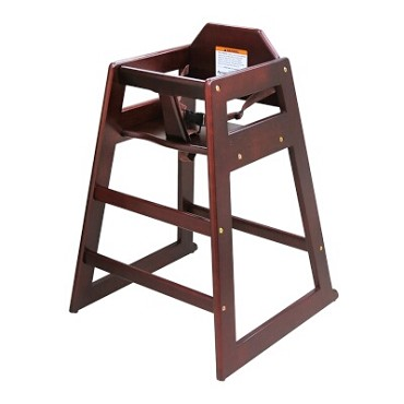 Adcraft HCW-5 - High Chair, stackable, solid hardwood, mahogany, assembled