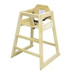 Adcraft HCW-1 - High Chair, stackable, solid hardwood, natural, assembled