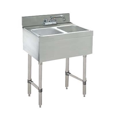 "Advance Tabco CRB-22C - 24"" Challenger Underbar Sink Unit, 2 sink compartment, 24"" long,"