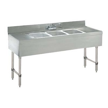 Advance Tabco CRB-63C - Challenger Underbar Work Board Sink Unit, with three sink compar