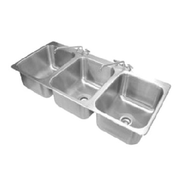 "Advance Tabco DI-3-1612 - Drop-In Sink, 3-compartment, 16"" wide x 20"" front-to-b"