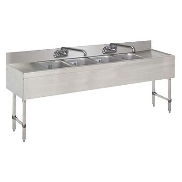 Advance Tabco SLB-74C - Slimline Underbar Work Board Sink Unit, with four sink compartme