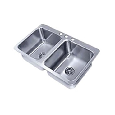 "Advance Tabco SS-2-4521-12 - Smart Series Drop-In Sink, 2-compartment, 20"" wide"