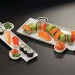 American Metalcraft PORS136 - Porcelain Sushi Plate w/Built-In Sauce Cup, 13 x 6 in.