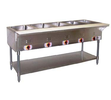 APW STS Steam Table Electric Stationary Well Exposed - 4 well gas steam table