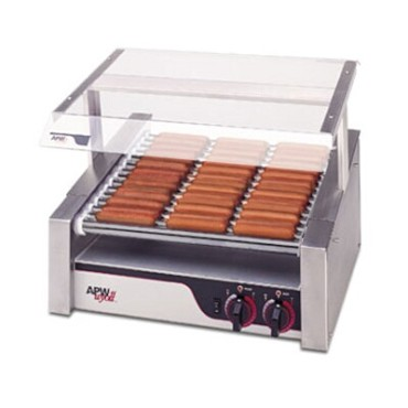 APW HR-20S - Hot Dog Grill, (10) slanted chrome rollers, (306) per hour