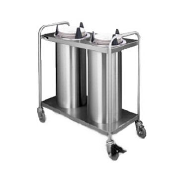 "APW HTL2-6.5 - Heated Dish Dispenser, mobile, open frame, (2) tubes, up to 6-1/2"" diameter"