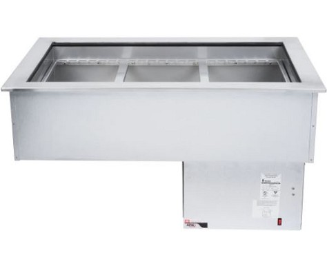 APW FACW-3 - Cold Food Well Unit, drop-in, curved, self-contained refrigeration, (3) pan, insulated pan