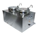 APW CWM-2SP - Food Pan Warmer, 22 quart, (2) 7 quart insets, chrome spicket & handles