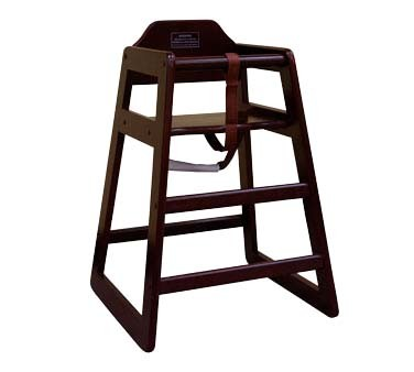 ATS Furniture HC-DM - High Chair, wood seat & back, dark mahogany finish
