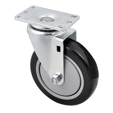 "BK Resources 5SBR-1PT-PLY-TLB - 5"" polyurethane plate casters wtih top lock brake."