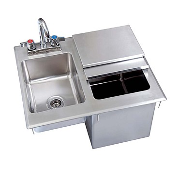 BK Resources BK-DIBHL-2118-P-G - DENTED Drop-In Ice Bin Chest with Sink & Faucet