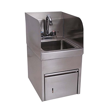 BK Resources BKHS-D-SS-SKTS-P-G - Hand Sink, wall mounted, with integrated towl dispenser