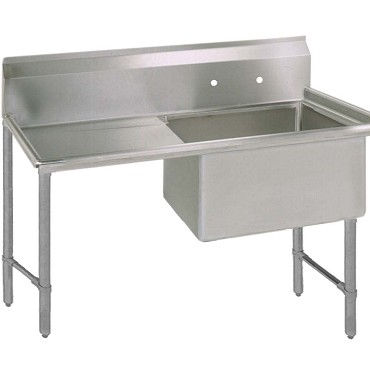 "BK Resources BKS6-1-24-14-24LS - One Compartment Sink, 24_ x 24_ x 14"", left drainboard"