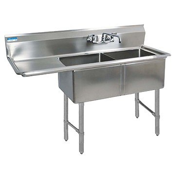 BK Resources BKS6-2-18-14-18LS - 2 compartment Sink, (2) 18_ x 18_ x 14 inch, left drainboard