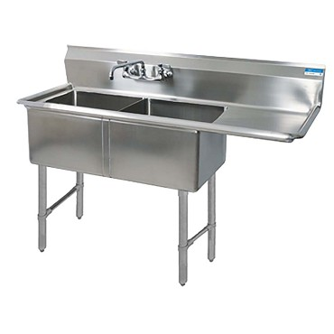 BK Resources BKS6-2-24-14-24RS - 2 compartment Sink, (2) 24_ x 24_ x 14 inch, right drainboard