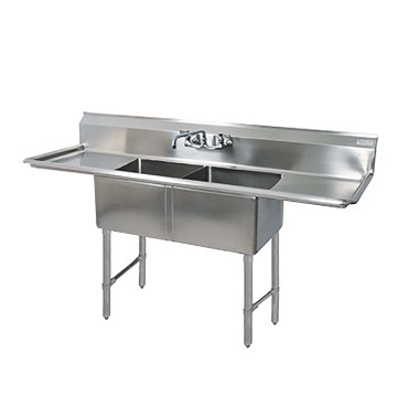 "BK Resources BKS6-2-1620-14-18TS - 2 compartment Sink, (2) 16_ x 20_ x 14"", L&R drainboards"