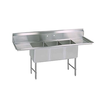 "BK Resources BKS6-3-18-14-18TS - Three Compartment Sink, (3) 18_ x 18_ x 14"", L&R drainboards"