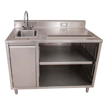 "BK Resources BEVT-3048L - Beverage Table, 48"" x 30"", sink on left, with faucet"