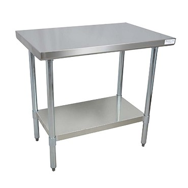 "BK Resources QVT-6030 - Work Table, 60 x 30""D x 34-3/4"" H, 14 gauge, Stainless Steel shelf"
