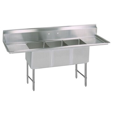 "BK Resources BKS-3-1620-12-18TS - Sink, (3) compartment, 84""W x 25.75""D, 12"" deep"