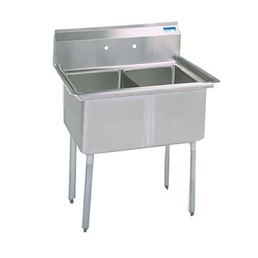 "BK Resources BKS-2-18-12S - Sink, 2 compartment, (2) 18_ x 18_ x 12""Deep"