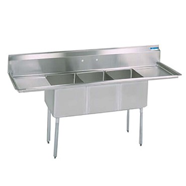 "BK Resources BKS-3-1824-14-18TS - Three Compartment Sink, 18_ x 24_ x 14"", L&R drainboards"