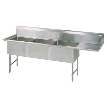 BK Resources BKS6-3-24-14-24RS - Three Compartment Sink, right drainboard