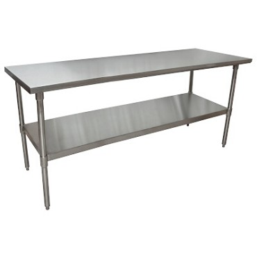 "BK Resources CTT-7230 - Work Table, 72 x 30""D x 34-3/4"" , 16 gauge, galvanized undershelf"