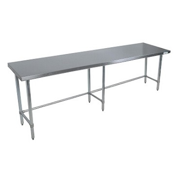 "BK Resources QVTOB-9630 - Work Table, 96 x 30""D, 14 gauge, Stainless Steel bracing"